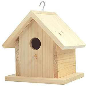 "Unfinished Birdhouse to Paint for Birdwatching with Perch, Natural Wood Pine Frame for Finches and Songbirds, Heavy Duty Outdoor Hanging Use (6.5"")"