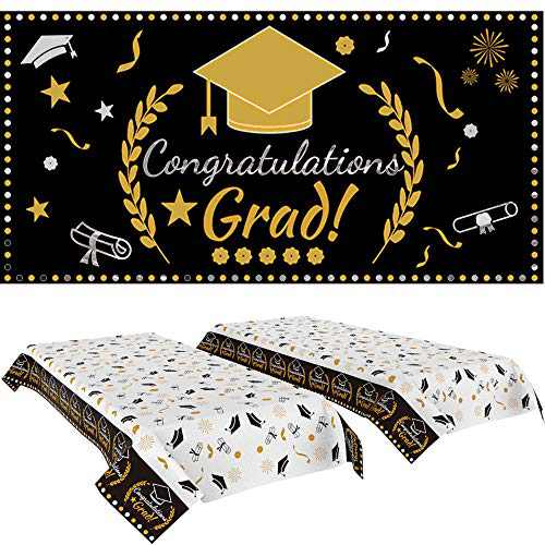Graduation Decorations 2021, Graduation Party Supplies 2021 with Table Cover 2 Pack and Graduation Banner 1 Pack, Graduation Backdrop & Party Decorations Indoor/Outdoor
