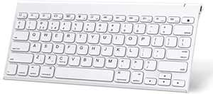 OMOTON iPad Keyboard (Stainless Steel, Rechargeable), Ultra Slim Wireless Bluetooth Keyboard for iPad Pro 12.9/ 11, iPad Air 10.9/ 10.5 inch, iPad 10.2 (8th/ 7th), iPad mini, iPhone and more, White