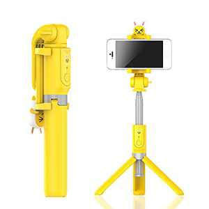 WI Wireless Selfie Stick with Tripod Stand and Carrying Pouch – Bluetooth Selfie Stick with Detachable Remote Control – Selfie Tripod for Vlogging, Parties, Holiday (KAKAO Friends Muzi)