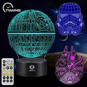 3D Night Light for Kids Star Wars Illusion Lamp Toy 7 Colors Changing Dimmable with Smart Touch and Timing Remote Control Unique and Cool Gift Ideas for Star Wars Fans Women Men Boys Birthday-3PC
