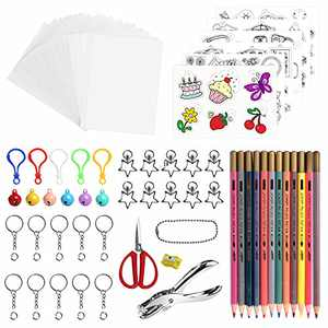 BAPHILE 176 PCS Heat Shrink Plastic Sheet Kit,Including 14Pcs Blank Shrink Film Paper and 6 Pcs Shrinky Art Paper with Pattern,Hole Punch,Keychains,Pencils for Kids