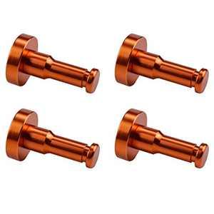 WallQmer Heavy Duty Aluminum Wall Hooks, 4 pcs, Orange, No Drilling Technology, Waterproof Rustproof, Door Hooks, Kitchen Hooks, Bathroom Towel Hooks, Coat/Robe Hooks, Key Hooks, for Kitchen, Door