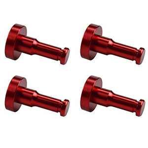 WallQmer Heavy Duty Aluminum Wall Hooks, 4 pcs, Red, No Drilling Technology, Waterproof Rustproof, Door Hooks, Kitchen Hooks, Bathroom Towel Hooks, Coat/Robe Hooks, Key Hooks, for Kitchen, Door