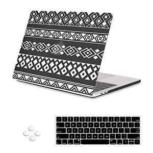 iLeadon MacBook Pro 13 inch Case 2019 2018 2017 2016 Release A2159 A1989 A1706 A1708, Plastic Hard Shell &Keyboard Cover &Screen Protector Compatible with MacBook Pro 13, Tribal Grid