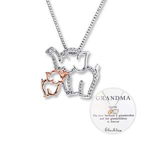 Grandma and Child Elephant Necklace Grandma Necklace 2 Elephant Charm Necklace Gift for Women Mother Necklace Personalized Rose Gold and White Gold Design Necklace Jewelry