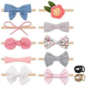 Baby Girl Headbands with Bows, Newborn Infant Toddler Nylon Hairbands Hair Accessories Gifts by TOKUFAGU