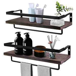 VSADEY Floating Shelves Wall Mounted with Towel Bar and Rails, Wall Shelves Floating Wall Ledge Display Shelf for Bedroom, Living Room, Bathroom, Kitchen, Set of 2 (Carbonized Brown)