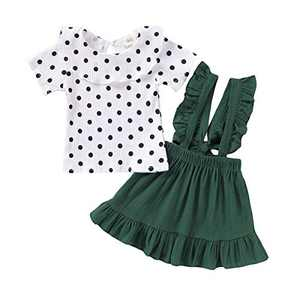 Baby Girls Solid Stripes Tops Ruffle Suspender Skirt Sets Green