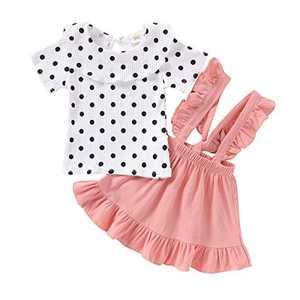 Aweyoo Toddler Girls Shirts Ruffled Dress Spring Clothes 1t-5t Pink