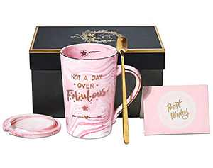 Birthday Gifts for Women Not A Day Over Fabulous Mug Funny Gifts Ideas for Her, BFF, Best Friends, Coworkers, Wife, Mom, Daughter, Sister, Aunt, 14 Ounce Pink Ceramic Marble Mug