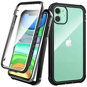 Denfany iPhone 11 Case with Screen Protector Heavy Duty Shockproof Scratch Resistant with All-Round Protection for iPhone 11 6.1 inch, Dustproof Desingn(Black)