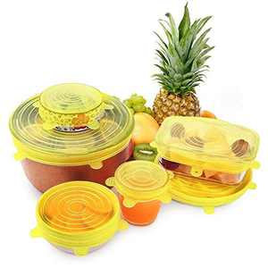Silicone Stretch Lids, (Orange) 6 Pack Flexible Lids for Bowls, Reusable Durable and Expandable Lids, Eco-friendly Stretch for Container, Bowl and Cup Cover in Dishwasher, Refrigerator and Microwave