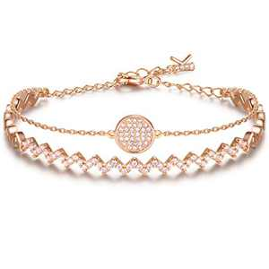 KIMILILY Gifts for Women Girl Wife ,Wave Bracelet for Women,Rose Gold Plated Double Layer Charm Bangle Bracelets for Women,Crystal from Swarovski,Adjustable Chain 6-8 inches