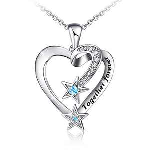 Distance Together Forever Heart Necklace for Women 925 Sterling Silver Meteor Star Pendants Jewelry for Women Mom Girls Wife