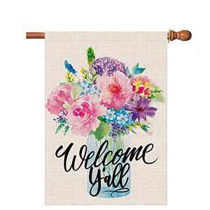 Hexagram Spring Flags 28 x 40 Double Sided,Welcome Y'All Burlap House Flags,Decorative Mason Jar Flowers Outdoor Decor,Spring and Summer Garden Welcome Sign, Large Outdoor Flags