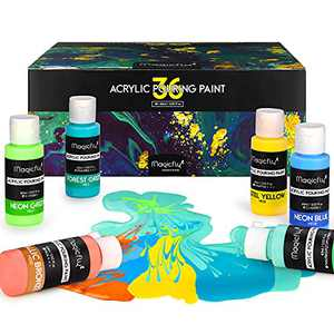 Magicfly 36 Colors Acrylic Pouring Paint (60ml/2oz Bottles), Pre-Mixed High Flow Liquid Acrylic Paint with 5 White Paint for Canvas, Wood, Stone, Glass, Ideal for Artwork, DIY Projects