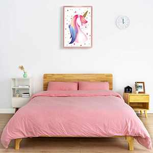 ATsense Solid Pink Duvet Cover Queen, 100% Washed Cotton, 3-Piece Bedding Duvet Cover Set, Ultra Soft and Easy Care, Simple Style Farmhouse Bedding Set(J8004)