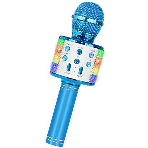 Wireless Bluetooth Karaoke Microphone, 5-in-1 Portable Handheld Mic Speaker Player Recorder with Controllable LED Lights, Adjustable Remix FM Radio for Christmas, Birthday, Home Party More (Blue)