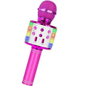 Wireless Bluetooth Karaoke Microphone, 5-in-1 Portable Handheld Mic Speaker Player Recorder with Controllable LED Lights, Adjustable Remix FM Radio for Christmas, Birthday, Home Party More (Rose Red)