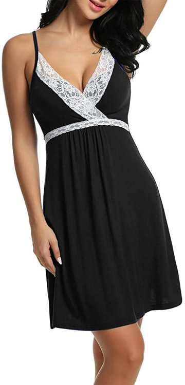KPILP Sleepwear Womens Chemise Nightgown Full Slips Lace Sling Dress Sexy Lingerie V Neck Nightdresses Ladies Nightshirt Loungewear Soft Negligees Pyjama Nightie for Ladies(,)