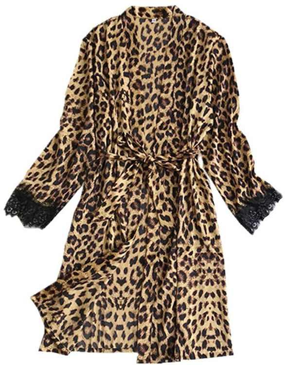 KPILP Womens Leopard Robe Sleepwear Sexy Plus Size Nightgowns Nightie Ladies Present Silk Satin Nightwear Slip and Soft Pyjamas Long Sleeve Bathrobe Loungewear(,)
