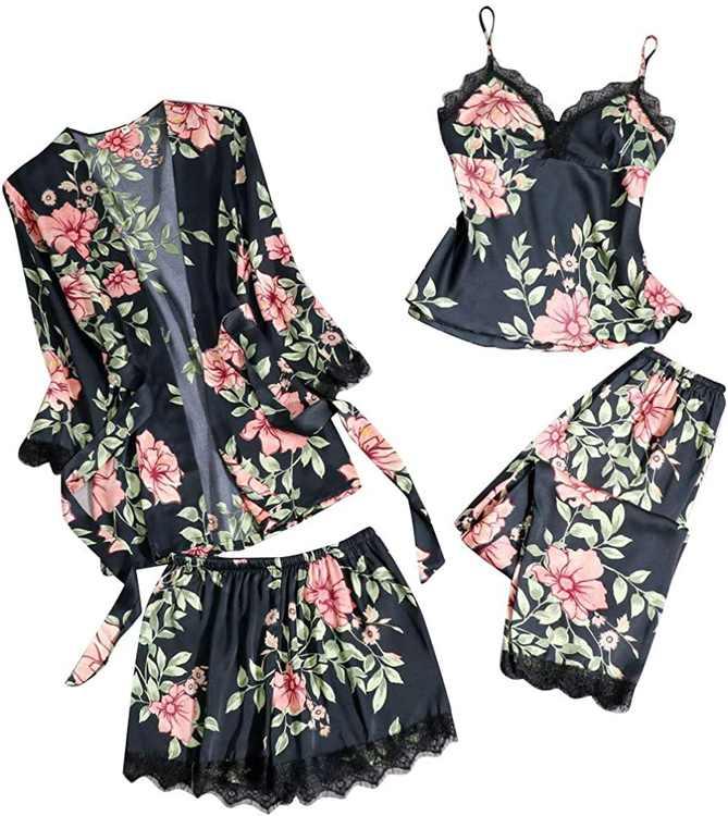 KPILP Sleepwear Set for Womens 4 Piece Floral Print Camisole Pants Robe Suit Nightwear Nightdress Nightshirts Pyjamas Ladies Home Night Clothes Loungewear Silk Satin Lace Slip(,)