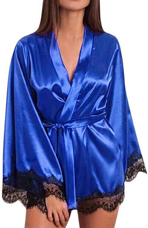 KPILP Robes Pyjamas Set Womens Long Sleeve Bathrobe V Neck Lace Plus Size Sexy Fashion Nightdress Silk Satin Sleepwear with Belt Ladies Nightgown Nightie(,)