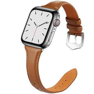 Compatible with Apple Watch Band 38mm 40mm Women for Series 6 5 4 3 2 1. Pierre Case for iWatch Bands Durable Genuine Leather Replacement Strap (Brown)