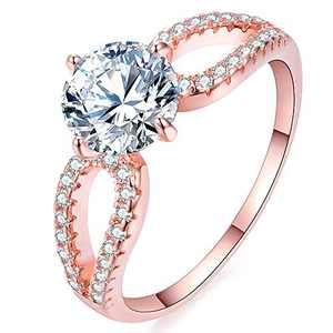 QJLE Sparkling CZ Engagement Rings for Women 1.25ct Solitaire Cubic Zirconia Halo Promise Wedding Band Ring (Rose Gold, 10)