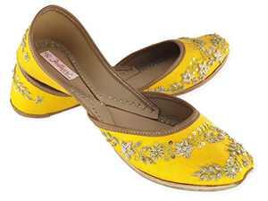 Fulkari Women's Paradise Yellow Gold Genuine Soft Leather Jutis   Bite and Pinch Free Jutis   Punjabi Jutti for Ladies Flat Mojari   Bridal Ethnic Flats for Girls   40