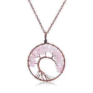 XquiziFit Tree of Life Necklace Natural Healing Quartz Crystals Pendant with Copper Chain, Great Gift for Mother's Day