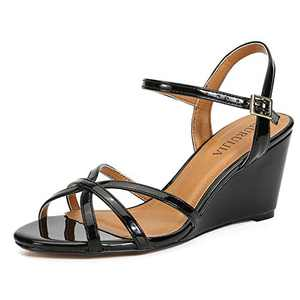 Women's Ankle Strap Open Toe Low Platform Wedge Sandals Wedding Dress Shoes Black-42 US 10.5