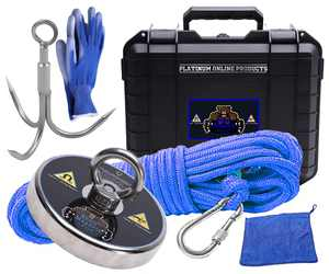 Magnet Fishing Kit with Case Strong Magnet for Magnet Fishing with 1430 Pound Pull Neodymium Magnet for Heavy Duty Use | Includes a Durable 65 ft Rope and Carabiner, Gloves and Waterproof Carry Case