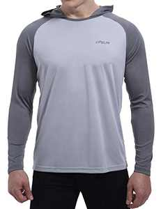 Men's UPF 50+ Sun Protection Hoodie Shirts Long Sleeve SPF/UV Outdoor Fishing Hiking Rash Guard Shirt(Grey,M)