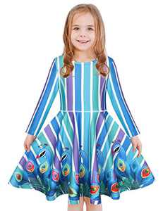 LaBeca Baby Girls Stripe Printed Casual Party Twirly Longsleeve Dress Peacock Fall XS