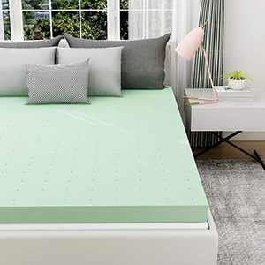 Milemont Mattress Topper, 3 inch Queen Size Memory Foam Mattress Bed Pad Green Tea Ventilated Design