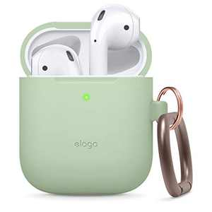 elago Silicone Case with Keychain Designed for Apple AirPods Case [Front LED Visible] [Pastel Green]