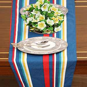 "Ruvanti Table Runner 100% Cotton (14x90"") Teal Stripe Design Table Runners, Linen Table Runner, Extra Long Table Runner for Coffee Gatherings, Holidays, Christmas and Thanksgiving Dinner Parties."