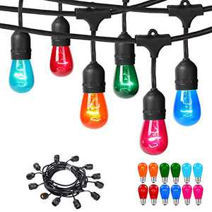 Areful Outdoor String Lights, 24FT Connectable Waterproof Commercial Lighting Strands with 12 Hanging Sockets and 15 S14 Multicolored Bulbs for Party Festival Business Home Decoration.