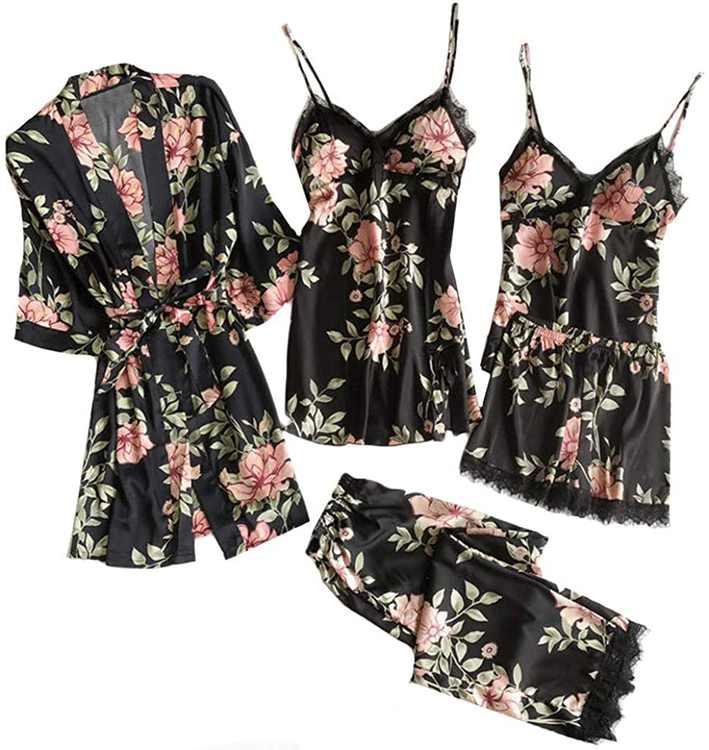 KPILP Women's Pajamas 5pcs Set Silk Floral Print Jumpsuit Pyjamas Set Satin Nightwear Sexy Lace Nightgown Nightdress Homewear Robe Camisole Sleepwear Bathrobe