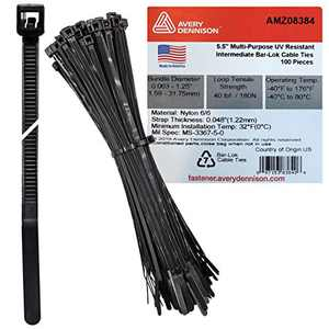"Bar Lok 5.5"" Black Nylon Cable Ties, 100 Pieces – Made in America – Weather, UV & Impact Resistant Plastic Zip Ties for Binding Bundling & Organizing Wire Cable & More – Indoor & Outdoor (5.5"", 100ct)"