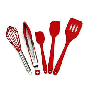 Silicone Spatula Set,5-Piece red kitchen utensils set silicone,The Baking Spatulas Silicone 480°F Heat-Resistant silicone kitchen tools, Rubber Spatulas Cookware.Stainless Steel Cooking Utensils Set