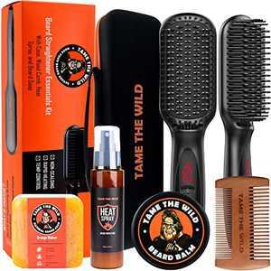 Tame's Beard Straightener Essentials Kit - Tame the Wild Anti Scald Beard Comb - Heat Protectant Spray - Beard Soap - Beard Balm - Detangle Comb & Storage Case - Ultimate Beard Straightening Gift Set