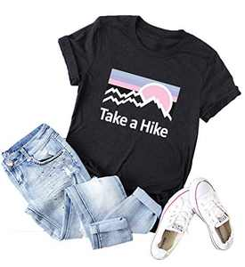 Women Take a Hike T-Shirt Summer Short Sleeve Crew Neck Graphic Tees Tops Letter Printed Loose Casual Shirts Black
