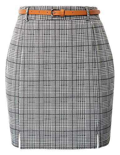 Womens Winter Mini Skirts Stretch High Waist Mini Plaid Zip Up Skirt