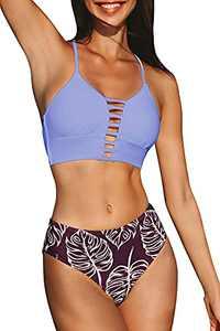 CUPSHE Women's Mid Waisted Bikini Set Lace Up Purple Two Piece Swimsuits M