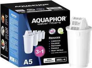 AQUAPHOR A5 replacement water filter cartridges, fits all A5 filter jugs, 4 pack, 350l per filter