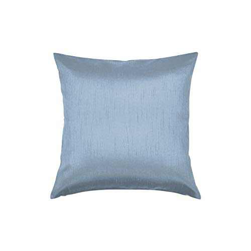 Essencea 22x22 Inches Faux Silk Square Throw Pillow Cover Solid Color Decorative Soft Shiny Pillowcase/Sham with Sturdy Hidden Zipper for Sofa   Bedroom   Living Room   Car (Slate Blue)