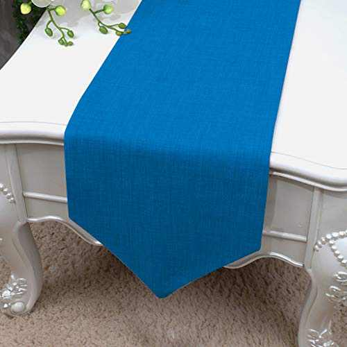 Essencea Faux Silk Table Runner V-End Seamless Solid Elegant Classic Table Top Decor- Ideal for Everyday Use   Party Decor   Wedding   Baby Shower   Special Occasions (13 x 72 Inches, Slate Blue)…